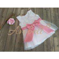 Ambell fehér alkalmi ruha rózsaszín övvel