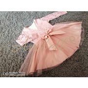 Ambell púder színű alkalmi csipkés ruha