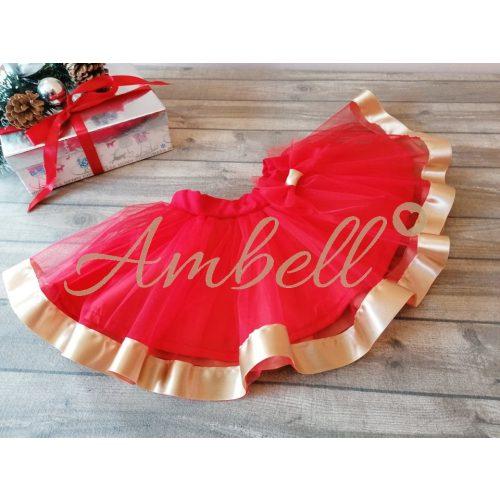 Ambell piros,arany színű szalagos tüll szoknya