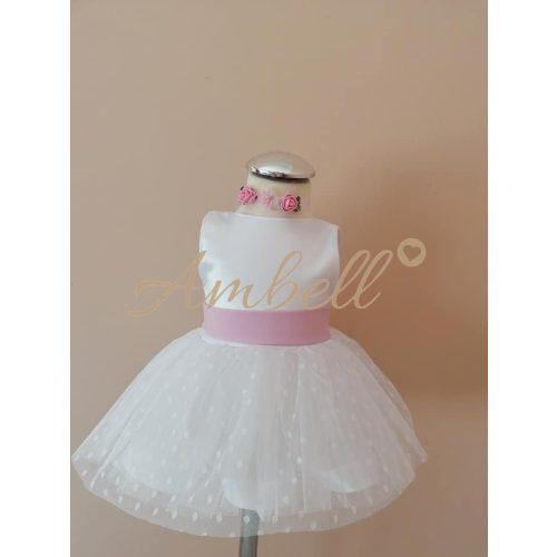 Ambell fehér ruha rózsaszín nagy masnis