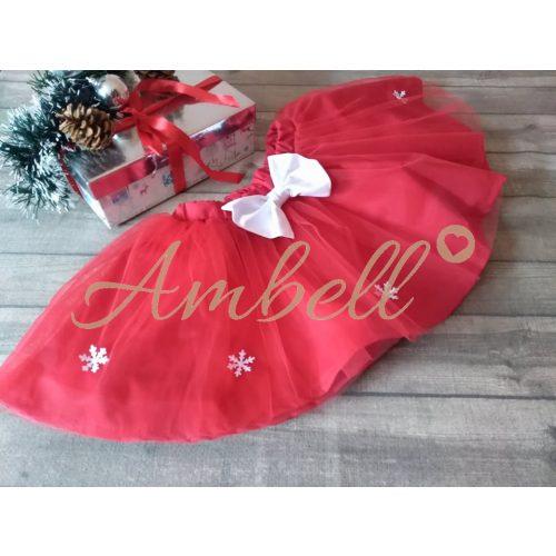 Ambell Piros,hópelyhes tüll szoknya
