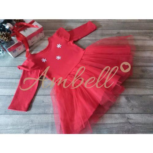Ambell piros lányka ruha ,hópelyhes